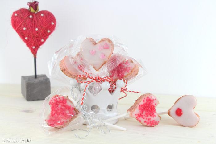 Pink Velvet Herz Lollis keksstaub