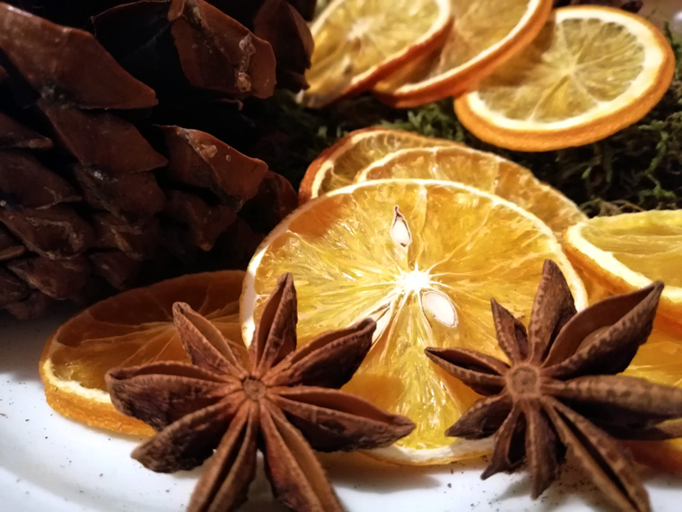 Ergebnis bei trocknen von Orangenscheiben