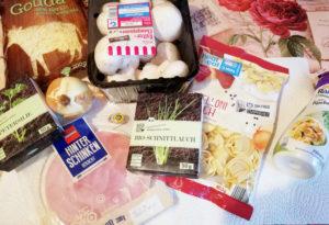 Zutaten für selbstgemachten Tortellini Auflauf