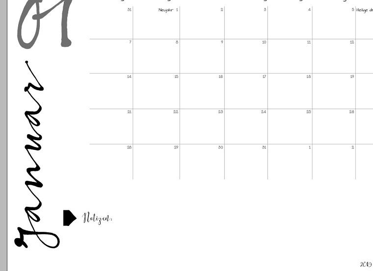 Kalender 2019 zum Ausdrucken | Freebie